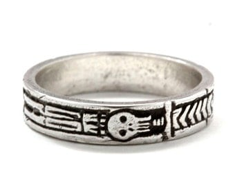 Georgian Skeleton Ring, Memento Mori Jewelry, Mourning Ring, Sterling Silver, Blue Bayer Design NYC