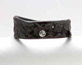 Blackened Silver Diamond Angle Cut Tree Bark Ring sizes 4 to 12 with personalized engraving made to order