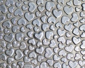 Nickel Silver Texture Metal Sheet Hearts Galore II Pattern 22g - 3 x 2 1/4 inches - Hammering Sheet Metalwork