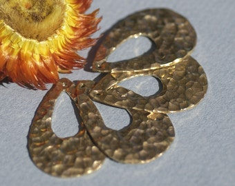 Hammered Brass Teardrop 32mm x 21mm Blank Cutout with hole for Stamping Texturing, - 4 pieces