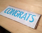 Congrats Greeting Card - hand stamped rectangular greeting card by kbatty