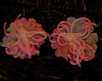 Vintage Millinery Flower Hot Pink Shaded Organdy 2pc Lot for Hat Bride and Hair G4