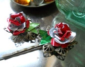 Red Roses Upcycled Hair Pins