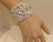 Wedding Bracelet,  Bridal Bracelet, Vintage Style Bracelet, BETHANY, Bridal Bracelet, Pearl Bracelet, Rhinestone Bracelet