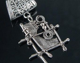 Scarf Pendant - Silver Modern Art Scarf Jewelry