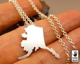 ALASKA sterling silver pendant, sterling silver chain
