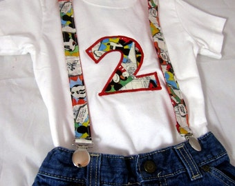 Mickey Birthday Shirt and Suspenders: Boy Birthday Outfit, Clothing, Mickey Shirt, birthday age, number