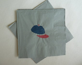 Baseball Cap - Paper Cocktail/ Luncheon/ Dinner Napkins - Gray, Blue and Red