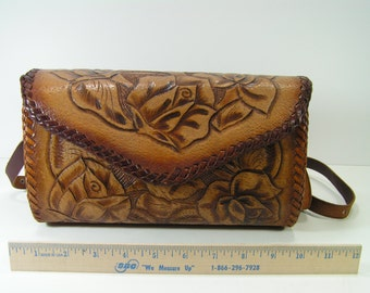 floral pattern tooled leather western shoulder bag purse brown cowboy cowgirl handmade custom