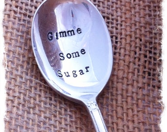 Gimme Some Sugar hand stamped silverplate spoon - Blithe Vintage
