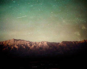 Rustic Decor, Mountains Print, Green, Brown, Starry Sky, Teal Green, Nature Photography Large Wall Art