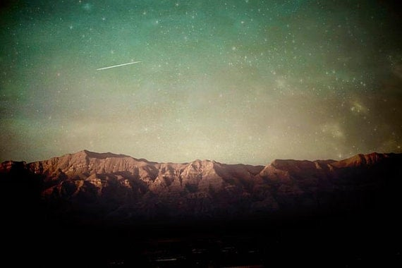 Rustic Mountain Print, Green, Brown, Stars Sky, Teal Green, Nature Photography Large Wall Art