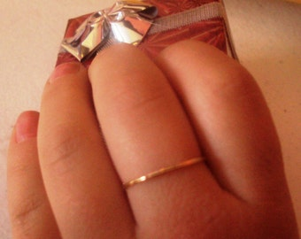 Set of 2 rings, 14kt SOLID Gold, stacking ring, handcrafted, wedding, engagement, mothers gift, thin and dainty