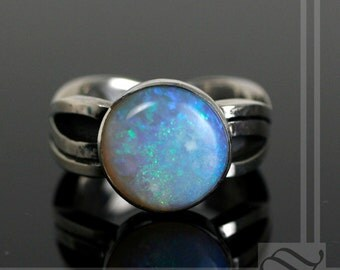 12mm Round Solid Opal Ring