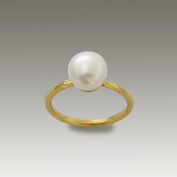14k gold ring yellow gold ring single pearl ring by