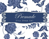 Etsy Shop Set, Premade Banner Set, Avatars, Thank you, Reserved graphic, Vintage Label, Blue White Damask Elegant Chic