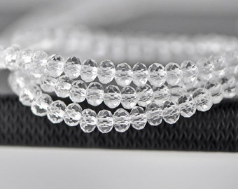 Faceted Rondelle Glass Beads Transparent Clear 3x4mm-(BZ04-78)/ 140Pcs