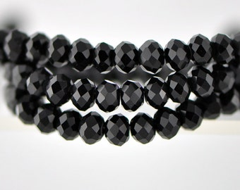 Black Jet Rondelle   Glass Beads 4x6mm Faceted  -(BZ06-01) / 95Pcs