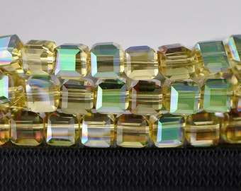 Crystal Glass Cube 8mm Faceted Beads Amber Green -FZ0822/ 70pcs