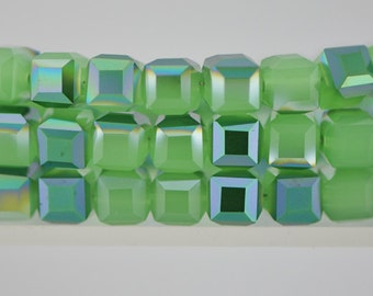 Crystal Cube Glass Faceted beads 8mm Green- FZ0825/ 70pcs