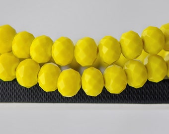 Rondelle Crystal Glass Faceted Beads Opaque Lemon Yellow  9x12mm- BZ1222/ Full strand