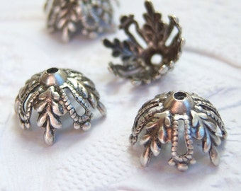 Antique silver plated 12mm filigree bead caps, lot of (6) - CC300