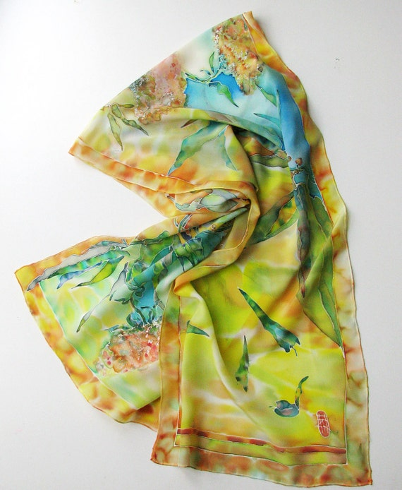 painted silk scarf on crepe de chine silk dyed by