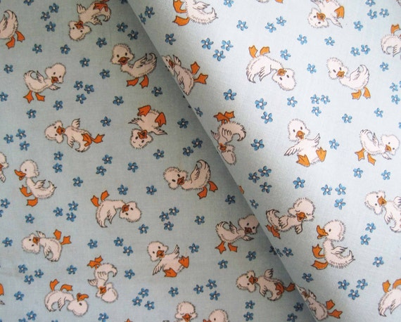 Vintage children kids baby juvenile fabric yardage ducks blue for Retro baby fabric