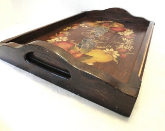 Vintage Tole Painted Wood Tray, Fruit// Vintage Oak Wood Serving Tray// Country Tole Painted Wood Tray//Entertaining Thanksgiving/