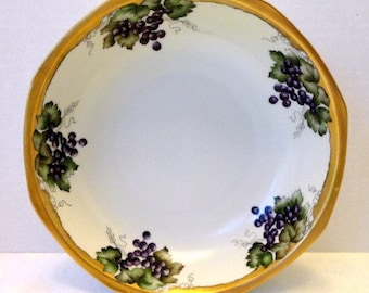 Vintage Serving Bowl Hand Painted Grapes Wide Gold Band MZ Czechoslovakia // Vintage Serveware// Vintage China//Entertaining