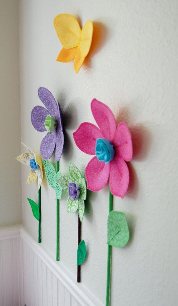 3d Wall Decor Flower Garden : D flower wall decal girls room decor fabric flowers