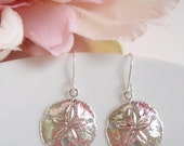 STORE CLOSING SALE Small Silver Sand Dollar - Beach Inspired - Earrings