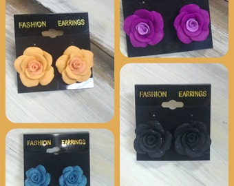 Hand Made Polymer Clay Rose Post Earrings
