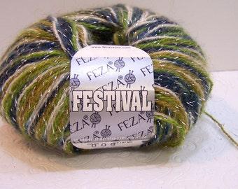 Feza Festival Yarn, Fingering Weight Yarn, Color 6, Blue, Olive Green, Cream, Metallic, Destash Yarn, Mohair Blend Yarn, Knitting Crochet