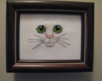 Cross Stitch Green Eyes Kitty Cat Framed