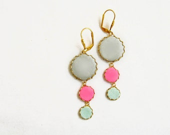 Statement Dangle Earrings in Mint, Pink, Grey Earrings - Color Dot Collection - Handmade Polymer Clay Statement Earrings