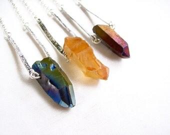 Raw Quartz Necklace, Quartz Crystal Pendant Necklace, Stone Necklace of Your Choice - Modern Tribal Lapidary