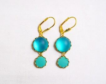 Blue Gold Earrings, Glass Statement Earrings, Blue Drop Earrings, Aqua Blue Dangle Earrings