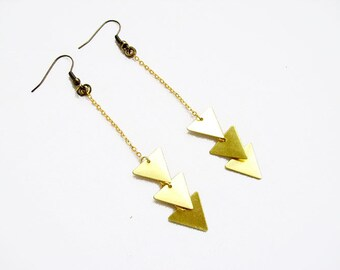 Long Geometric Earrings,  Minimalist Triangle Earrings, Chevron Earrings