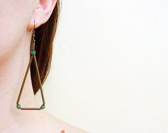 Minimal Triangle Earrings, Geometric Statement  Earrings with Jade or Coral Beads