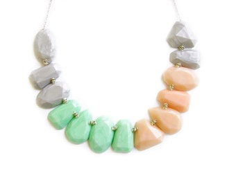 Pastel Statement Necklace, Geometric Statement Necklace in Mint Peach Grey, Gem Candy Collection