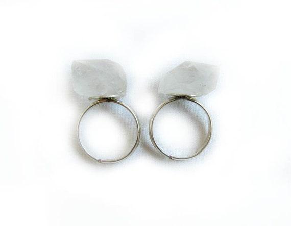 Raw Quartz Crystal Ring - Chunky Nugget Clear Quartz Adjustable Ring - Modern Tribal Lapidary Handmade Ring