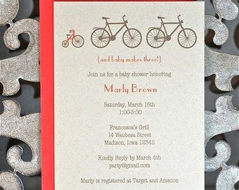 Bicycle, Baby Shower Invitations, Baby Shower, Invitations. Bikes, Tricycle, Birth Announcements - Set of 50