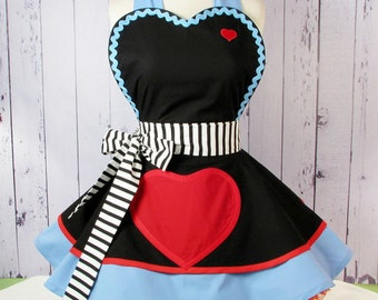 Dark Alice in Wonderland Apron Womens Apron Queen of Hearts Costume
