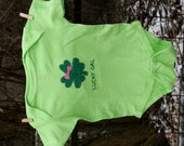 "St Patrick's Day ""LUCKY GAL"" Shamrock/Lucky 4 Leaf Clover Bodysuit for Baby girls, perfect for 1st St. Patty's Day pics"