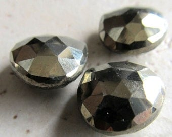 Pyrite Teardrop Beads 13mm Golden Fools Gold Faceted Heart Briolettes - 4 Pieces