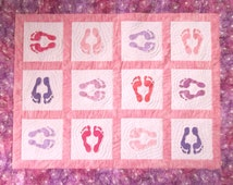 Pink and Purple Baby Quilt -- Stenciled Footprints