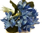 Vintage 1940s Unused  Spray of Shaded Blue Cloth Millinery Flowers with  Fabric Stems - Made in Germany - Priced for each Cluster