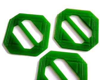 3 Large Vintage Art Deco Patterned Buttons Octagonal Plastic Green Carved Belt Buckles at 3 each - Old Store Stock Unused (also have more)