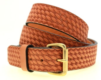 """American Made 1 1/2"""" Men's London Tan Bridle Leather Belt With Basket Weave Embossing Solid Brass Buckle Nickel-Free"""